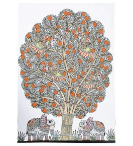 Traditional Madhubani Natural Canvas Painting  of Elephant Under the Tree