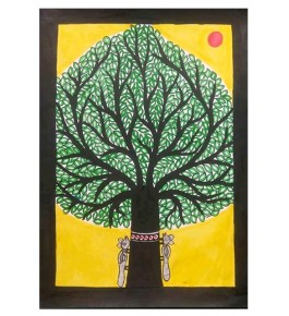 Traditional Madhubani Canvas Painting of Green Tree