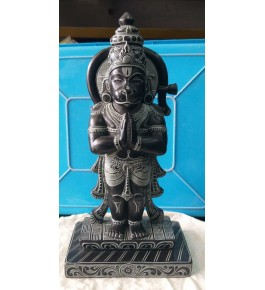 Authentic Handicraft Mahabalipuram Sculpture Lord Hanuman Namastey Green Stone For Decoration Purpose