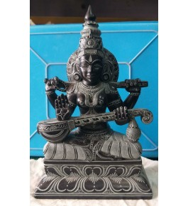 Authentic Handicraft Mahabalipuram Sculpture Goddess Saraswati Green Stone For Decoration Purpose