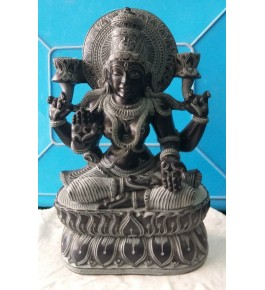 Authentic Handicraft Mahabalipuram Sculpture Goddess Lakshmi Green Stone For Decoration Purpose