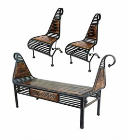 Wooden Antique Look Natural Chairs Set From Saharanpur