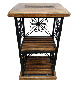 Beautiful Handcrafted End Table from Saharanpur Wood Craft in Antique Brown Colour