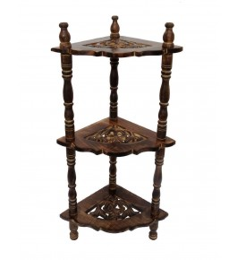 Brown Colour Saharanpur Wood Craft Mini Corner Rack Side Table for Home Decor