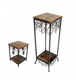 Saharanpur Wood Craft and Wrought Iron Side Table with Drawer for Living Room Furniture (Set of 2)