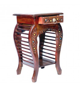 Saharanpur Wood Craft Bedside Table Antique Look Natural Wood with Drawer Storage for Living Room