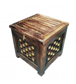 Antique Saharanpur Wood Craft Hand Carved & Included Brass Work Stool with Storage/Wooden Pouffes