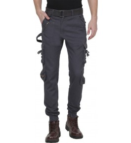 Plain Cotton Deep Blue Cargo Pant For Men By Prabhat Jeans