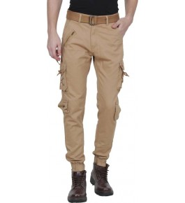 Plain Cotton Light Brown Cargo Pant For Men By Prabhat Jeans