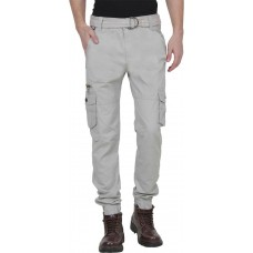Plain Cotton Greyish White Cargo Pant For Men By Prabhat Jeans