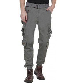 Plain Cotton Grey Cargo Pant For Men By Prabhat Jeans