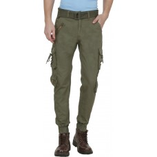 Plain Cotton Dark Green Cargo Pant For Men By Prabhat Jeans