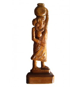 Traditional Bastar Tribal Women Carrying Water in the Pitcher Sculpture Home Decorative Wooden Craft