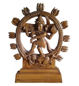 Traditional Bastar Wooden Nataraja Sculpture Table Show Piece in  Home & Office Decor