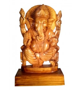 Traditional Bastar Wooden Lord Ganpati Sculpture Table Show Piece