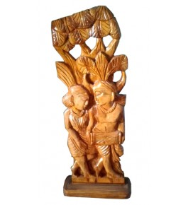 Traditional Bastar Wooden Sculpture of Tribal Women Celebrate Festival Table Show Piece