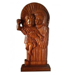 Traditional Bastar Wooden Sculpture of Baby Jesus in his Mother's Arms Table Show Piece