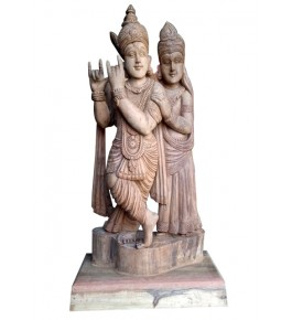 Traditional Bastar Wooden Radha-Krishna Sculpture Table Show Piece