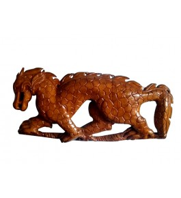 Traditional Bastar Wooden Dragon Sculpture Table Show Piece