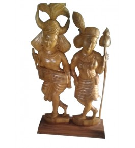 Traditional Bastar Wooden Tribal Dance & Playing Drum Sculpture Table Show Piece