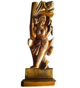 Traditional Bastar Wooden Nymph Sculpture Table Show Piece