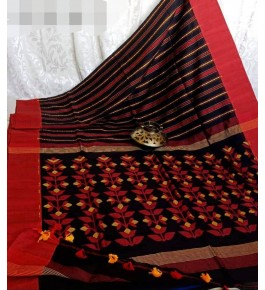 Santipur Handloom Red Cotton Saree for Women