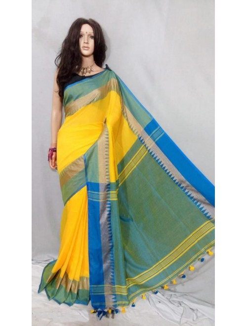 Santipur Beautiful Yellow Cotton Saree for Women