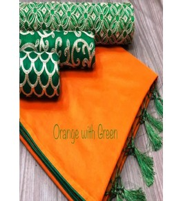 Chanderi Cotton Orange Saree With Contrast Green Piping, Jhalar Pallu & 3 Blouse Concept For Women
