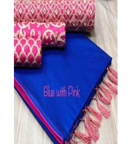 Chanderi Cotton Blue Saree With Contrast Pink Piping, Jhalar Pallu & 3 Blouse Concept For Women