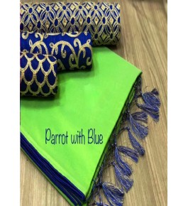 Chanderi Cotton Parrot Saree With Contrast Blue Piping, Jhalar Pallu & 3 Blouse Concept For Women