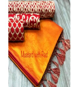 Chanderi Cotton Mustard Saree With Contrast Red Piping, Jhalar Pallu & 3 Blouse Concept For Women