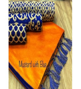 Chanderi Cotton Mustard Saree With Contrast Blue Piping, Jhalar Pallu & 3 Blouse Concept For Women