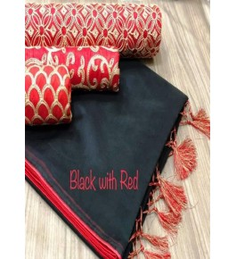 Chanderi Cotton Black Saree With Contrast Red Piping, Jhalar Pallu & 3 Blouse Concept For Women