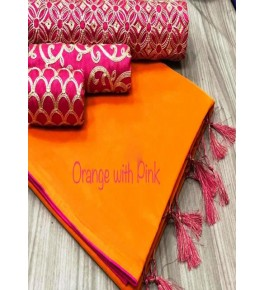 Chanderi Cotton Orange Saree With Contrast Pink Piping, Jhalar Pallu & 3 Blouse Concept For Women