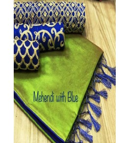 Chanderi Cotton Mehendi Saree With Contrast Blue Piping, Jhalar Pallu & 3 Blouse Concept For Women