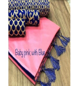 Chanderi Cotton Baby Pink Saree With Contrast Blue Piping, Jhalar Pallu & 3 Blouse Concept For Women