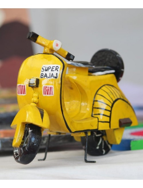 Varanasi Wooden Lacquerware & Toys Yellow Color Scooter For Decoration