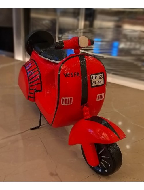 Varanasi Wooden Lacquerware & Toys Red Color Scooter For Kids & Home Decor