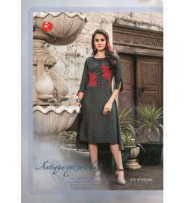Rinky Fashion Trendy Look With Embroidery Work Grey Kurti For Women