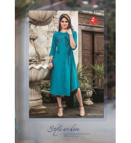 Rinky Fashion Sky Blue Kurti With Embroidery Work For Girls