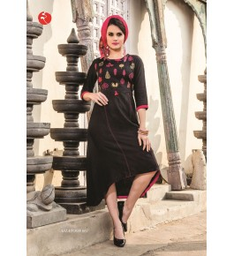 Rinky Fashion Modern Look With Embroidery Work Black Kurti For Women