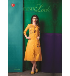 Rinky Fashion Trendy Look With Embroidery Work Yellow Kurti For Women