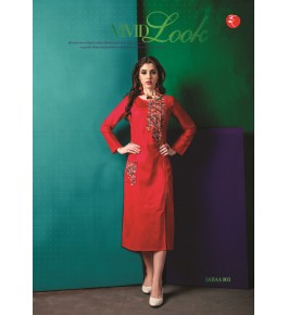 Rinky Fashion Gorgeous Look With Embroidery Work Red Kurti For Women