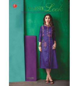 Rinky Fashion Modern Look With Embroidery Work Purple Kurti  For Women