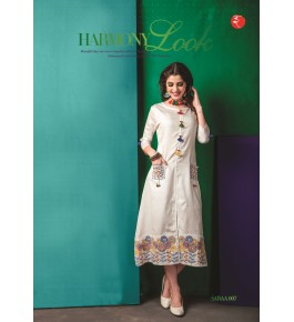 Rinky Fashion Trendy Look Kurti With Embroidery Work For Girls