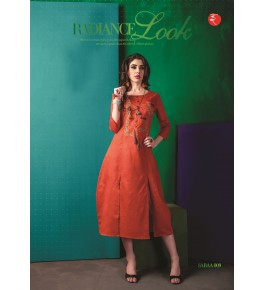Rinky Fashion Radiance Look With Embroidery Work Orange Kurti For Women