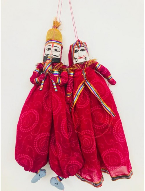Beautiful Handcrafted Red Colour Kathputlis Of Rajasthan For Decor
