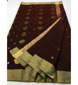 Attractive Brown Coloured with Border Chanderi Saree For Women