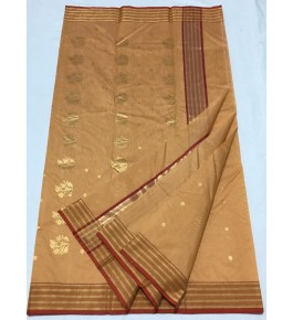 Adorable Bronze Colour  Chanderi Saree With Stripped Golden Border For Women