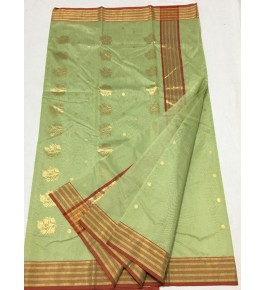 Light Green Bootidar Chanderi Saree with Stripped Golden Border for Women